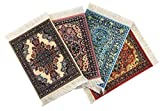Inusitus Set of 4 Rug Table Coasters | Oriental Design Fabric Carpet Drink Mats (Mix-2)