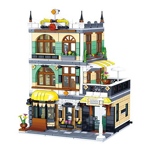 Oeasy Modular Haus Architektur Modell Bausteine, 1186 Klemmbausteine Rom Restaurants Bauset mit Figuren, Häuser Modellbau Kompatibel mit Lego