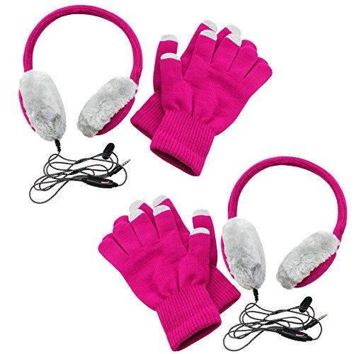 com-four® 2X Calentadores de oídos para Auriculares y Guantes táctiles para operación con Pantalla táctil en Invierno en Rosa/Gris, con conexión de micrófono Jack de 3,5 mm (02 Piezas)