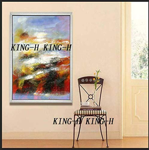 niño niña dormitorio pintura al óleo decoración del hogar pinturas murales pintado a mano moderno lienzo abstracto pinturas al óleo oro abstracto pintura al óleo imagen sala de estar-40x60 cm_Kin