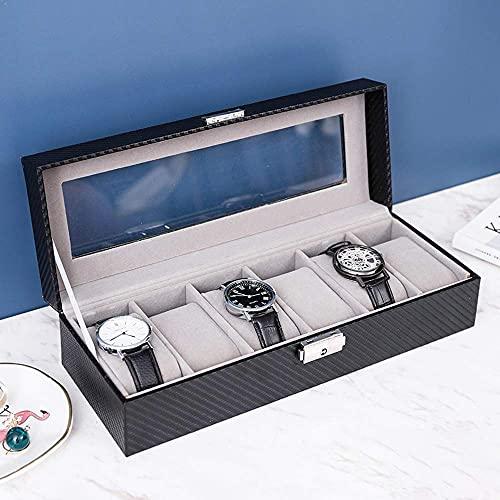 LHJCN Schmuck-Aufbewahrungsbox, Reise-Schmuckkästchen, 12 Fächer, Uhrenhalter mit Glasdeckel, Uhrenkoffer mit abnehmbarem Uhrenkissen, Samtfutter, Metallverschluss, Premium-Uhren-Display, Kunstleder