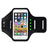 FSDUALWIN iPhone 7 Plus Armband with Motion-Activated LED Lights, Sports Arm Band, Waterproof Fingerprint Touch Supported Arm Case with Card Slot for iPhone 6 / 6s / 7 Plus(5.5 inch) (Black)