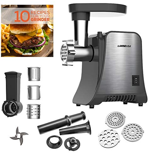 GoWISE USA GW88010 800-Watt Max Grinder & Food 4-in-1 Electric Meat Grinder and Food Processor, Small, Stainless Steel