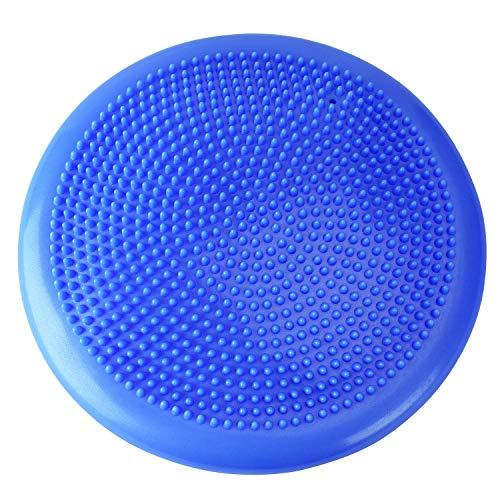 OMAORST Cojín de equilibrio con bomba, 33 cm de diámetro, cojín de aire antipinchazos, almohadilla de equilibrio para postura vertical, rehabilitación y entrenamiento de equilibrio (azul)