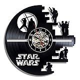 XIPI Vinilo Star Wars Death Star con Marco LP Record Reloj de Pared - Decora tu hogar con Arte Moderno clásico Oscuro Oscuro clásico de 30 cm Darth Vader, Negro