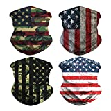 4 Pack American Flag Pattern Outdoor Face Mask- Multifunctional Seamless Microfiber Summer UV Protection Face Neck Shields Headwear for Outdoors, Festivals, Sports Headband Neck Gaiter Bandanas