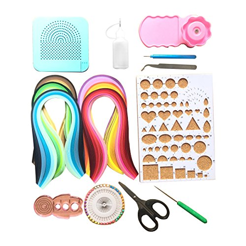 Lantee 16 Sets of Quilling Tool Kits Includes 6 Pack of 5mm 29 Colors 600 Paper Strips,Curling Coach,Slotted Pen,Awl,Quilling Board,Scissors,Glue Bottle,Tweezers,Crimper,Template Board,Pearl Pins