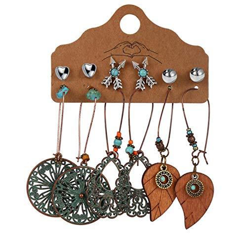 2 sets New Ethnic Beads Drop Earrings Set For Women 6Pcs Set Fearther Acrylic Metal Wood Dangle Earring 2021 Vintage Jewelry
