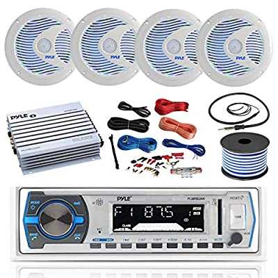 16-25' Bay Boat: Pyle Bluetooth Marine USB MP3 Stereo Receiver, 4 X Pyle 6.5'' Waterproof White Speakers w/LED, Pyle 4 Channel Boat Amplifier, Amp Install Kit, 18 Gauge 50 FT Speaker Wire, Antenna