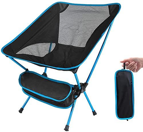 LLKK Silla de playa plegable, silla de pesca, compacta, ultraligera, silla plegable para exteriores, con bolsa de transporte para camping, picnic, senderismo, tomar el sol, azul portátil