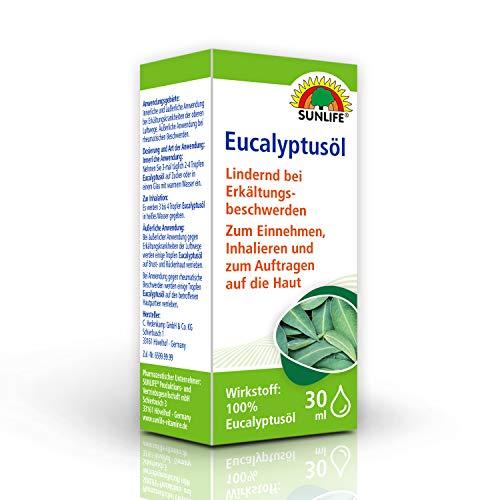 SUNLIFE Eucalyptus-Öl: Ätherisches Öl zum Einnehmen, Inhalieren und Auftragen bei Erkältung und rheumatischen Beschwerden, 30ml