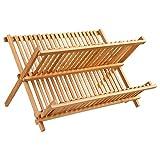 Escurreplatos de bambú con capacidad para 34 platos
