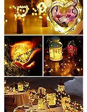 BrizLabs Led-flessenlamp, 7 stuks, 20 leds, 2 m, warmwit, op batterijen, voor wijnflessen, sfeerverlichting voor flessen, doe-het-zelf, bruiloft, feest, Kerstmis, interieurdecoratie