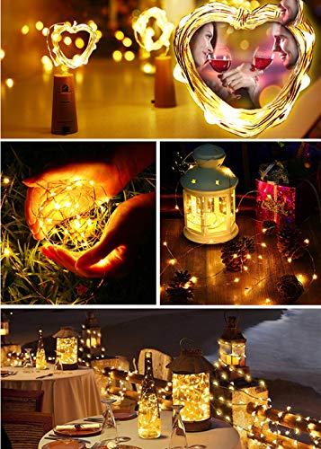 LED Flaschen Licht, BrizLabs 7 Stück 20 LED 2M Flaschenlicht Warmweiß Batteriebetriebene Weinflasche Lichterkette Kupferdraht Stimmungslichter für Flasche DIY Hochzeit Party Weihnachten Innen Deko