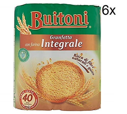 6x Buitoni Granfetta Fette Biscottate Integrali mit Vollkornmehl 40 fette Vollkorn Zwieback Kekse 300g