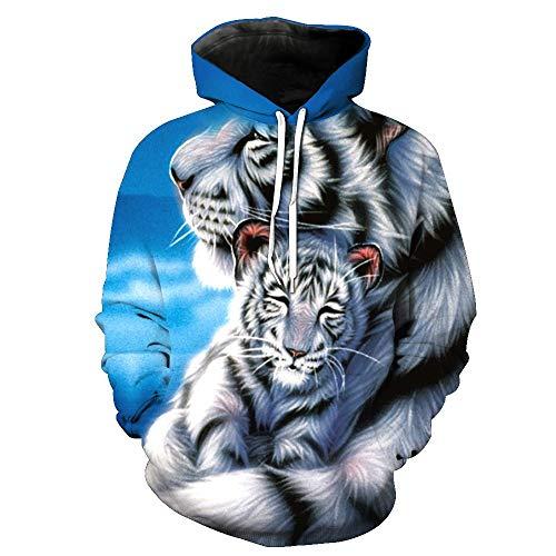 Simmia Fashion Unisex 3D Print Lustige kreative Grafik Samt Pullover, weiße Tiger Print Kordelzug Hoodies mit großen Taschen Sweatshirts, M