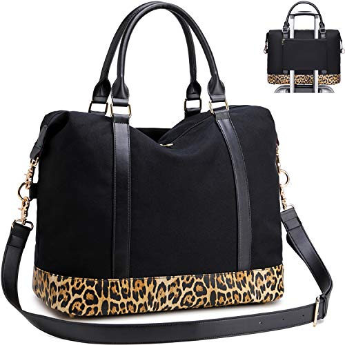Leopard Weekender Bag, Canvas Travel Tote for Women Overnight Carry on Bag with Luggage Sleeve (Leopard-Black)