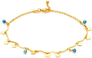Barzel 18k Gold Plated Evil Eye Anklet Bracelet