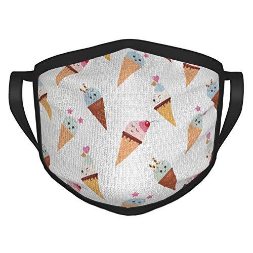 Cubierta de la cara sabrosa fría verano trata alimentos en conos estilo kawaii patrón ilustrado cubierta boca paño lavable Sportmaske para hombres mujeres ciclismo camping viajes