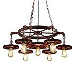 Lámpara de araña industrial vintage, 10 luces, lámpara colgante...