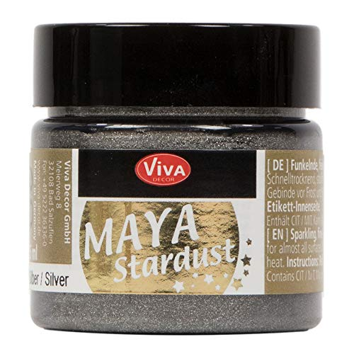 Viva Decor®️ Maya Stardust (Silber, 45 ml) feinkörnige Glitzer Farbe - feine Effekt Paste zum Basteln - Glitter Farben für Porzellan, Beton, Steine, Papier, Glas UVM. - Wetterfest