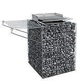 bellissa Gabionen-Hochgrill - 95581 - Grill/Feuerstelle für den Garten inkl. Grillrost, Feuerschale, Windschutz und Ablage - 60 x 60 x 80 cm