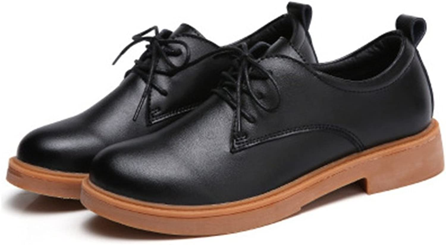 T-JULY Women's Retro Oxfords shoes - Classic Lace-up Low Heel Round Toe Casual shoes