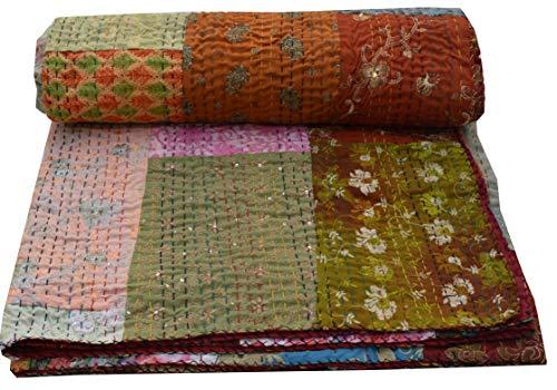 Colcha de kantha hecha a mano con estampado de Khambadiya Jari Patchwork tamaño King y Twin Bordado Kantha para decoración del hogar, colcha Kantha, colcha india (multicolor, 60 pulgadas, 90 pulgadas)
