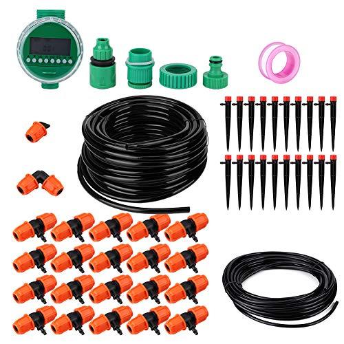Kit de riego a prueba de agua, kit de riego por goteo 2 x 1.5V baterías AAA 10.8 x 9.7 cm 20 m