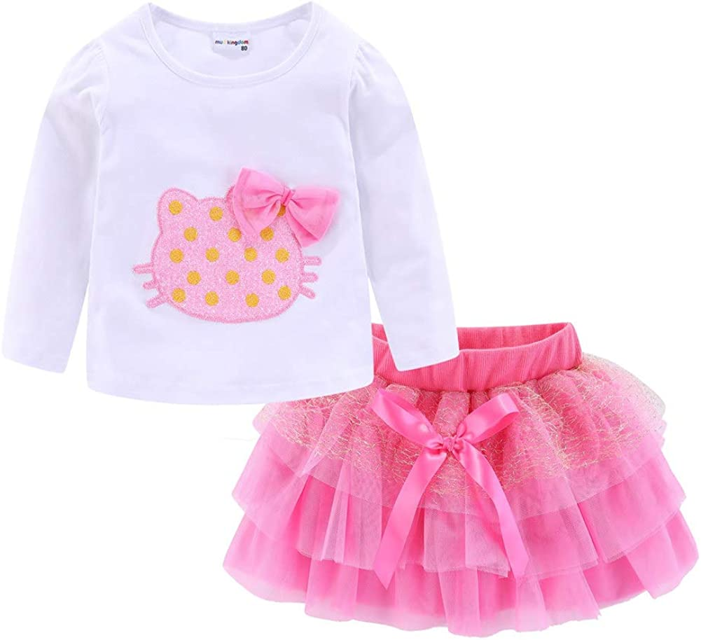 Colorado Springs Mall LittleSpring Girls Tutu Skirt Max 75% OFF Outfits Bow Casual Cute Tulle 2pcs
