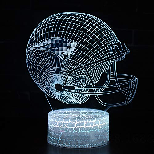 SXMXO 3D New England Patriots Logo NFL Team Collection Football Helmet Visual Lamp Home Decor LED Table Lamp Night Light,7colors+Touch