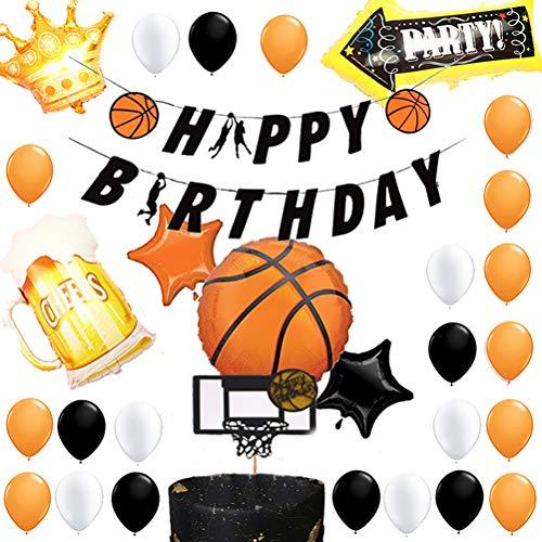 Amosfun - Juego de 39 globos de aluminio para decoración de tartas con temática de baloncesto, fiesta de cumpleaños