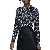 Overdose Blusa para Mujer OtoñO Primavera Nueva Mejor Venta De Moda Casual De Manga Larga Color Block Stripe Button Camisetas Tops (Large, Estilo10)