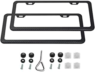 Ibetter 2 PCS Thick Slim Carbon Fiber License Plate Frames, Car Licence Plate Holder Covers with Bolts, Washers and Screw Caps for US Standard (2 Holes Slim Carbon Fiber)