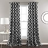 "Lush Decor Edward Trellis Curtains Room Darkening Window Panel Set for Living, Dining, Bedroom (Pair), 84"" x 52"", Black"
