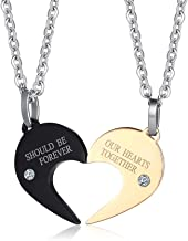HUANIAN 2pcs Adorable Missing Zircon Stainless Steel Hollow Out Love Couple Pendant Puzzle Necklace,Free Chain