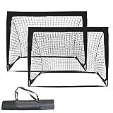 COSTWAY 2er Set Fußballtor klappbar, Fußball-Tor mit Montagezubehör und Tragetasche, Fußballnetz...