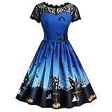 Venta de ropa para mujer Señoras suaves y cómodas mujeres de moda estilo real europeo Halloween impresión encaje manga corta vintage vestido de noche vestido de fiesta