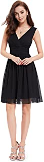 Ever-Pretty Double V-Neck Ruched Waist Short Cocktail Party Dress 03989