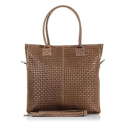 FIRENZE ARTEGIANI.Bolso shopping bag de mujer piel auténtica.Bolso cuero genuino,piel grabado geométrico. MADE IN ITALY. VERA PELLE ITALIANA. 37x36x9 cm