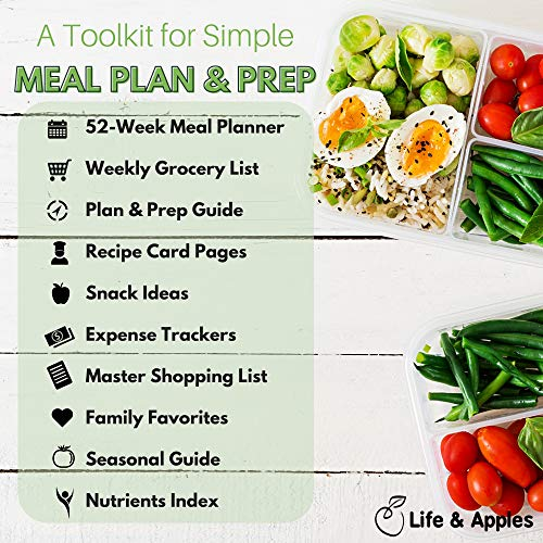 Life & Apples Meal Planner Notebook - Weekly Meal Prep Planner and Grocery List, with Recipe Card Pages and Expense Trackers - 52 Weeks, Hardcover Spiral Bound Book (Green)