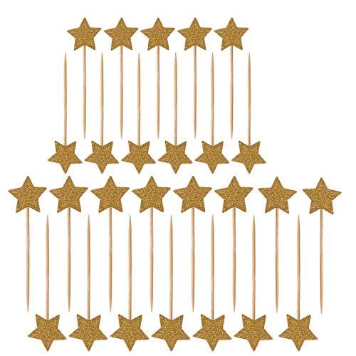 ULTNICE 50 Stück Star Cupcake Toppers Glitter Picks Cocktail Sticks Lebensmittel Zahnstocher Geburtstag Dekoration für Hochzeit Party Kuchen (Gold)