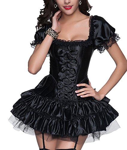R-Dessous sexy Corsagenkleid Corsage + Rock Mini Kleid schwarz kurz Cocktailkleid Partykleid Abendkleid Gothic, Schwarz, Herstellergroesse XXL (44)