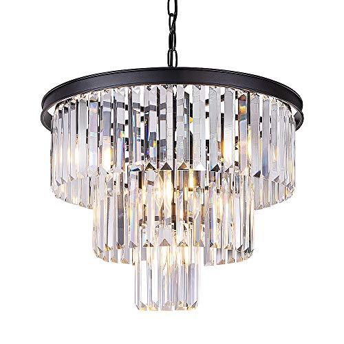 Wellmet 7-Licht Kristall Kronleuchter, 20 Zoll 3-Tier zeitgenössische moderne Kronleuchter, hängende Deckenleuchte für Schlafzimmer, Wohnzimmer, Esszimmer