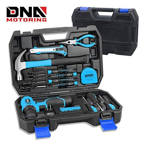 DNA MOTORING Blue 27 PCs 12V 1300mAh Lithium Cordless Drill amp Home Hand Repair Kit Combination Tool Set Model: TOOLS00017