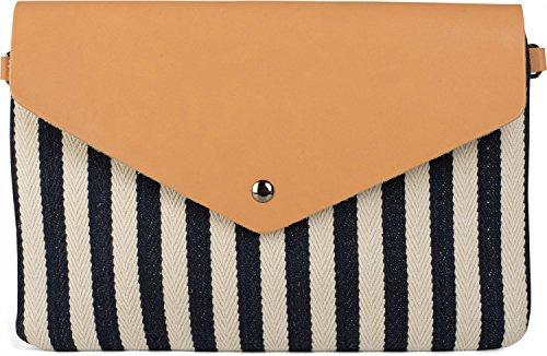 styleBREAKER Envelope Clutch im maritimen Streifen Look mit Fischgrät Muster, Umhängetasche, Tasche, Damen 02012153, Farbe:Dunkelblau-Beige