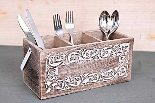 Gifts For Women Wooden Utensil Cutlery Holder Caddy Flatware and Silverware Organizer Spoons, Forks, Knifes and Napkin Supplies
