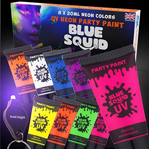 UV Face & Body Paint Set - by Blue Squid, 8 Liquid UV Body Paints (8 x...