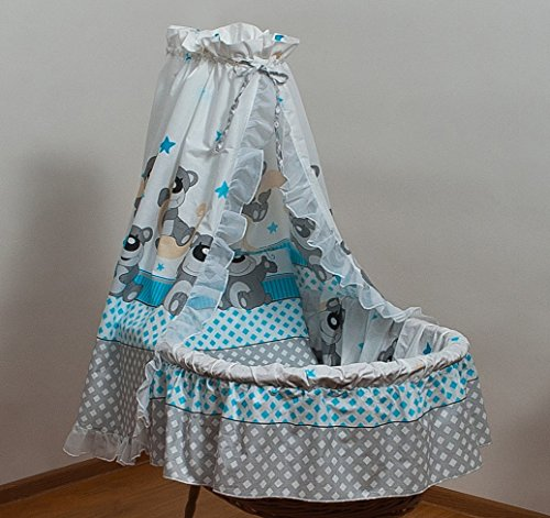 Set completo per cesta di mose neonato bambino, baldacchino cotone (motivo: orsetto grigio )