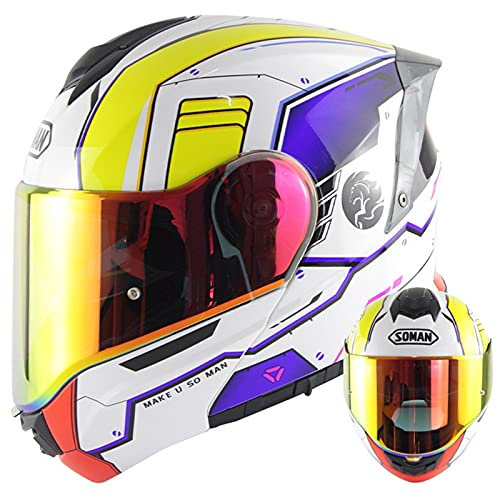 ABDOMINAL WHEEL Cascos Modulares De Moto Dot ECE Homologado Cascos Abiertos De Moto con Doble Visera Lente Grande Cascos Integrales De Moto Ventilado Casco Ligero Moto D,M=55~56CM